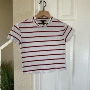 Forever 21 Red and White Stripe Crop Top
